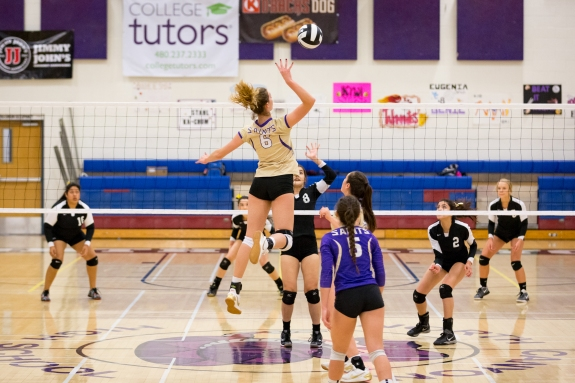 Nicole skys above the net for a kill!